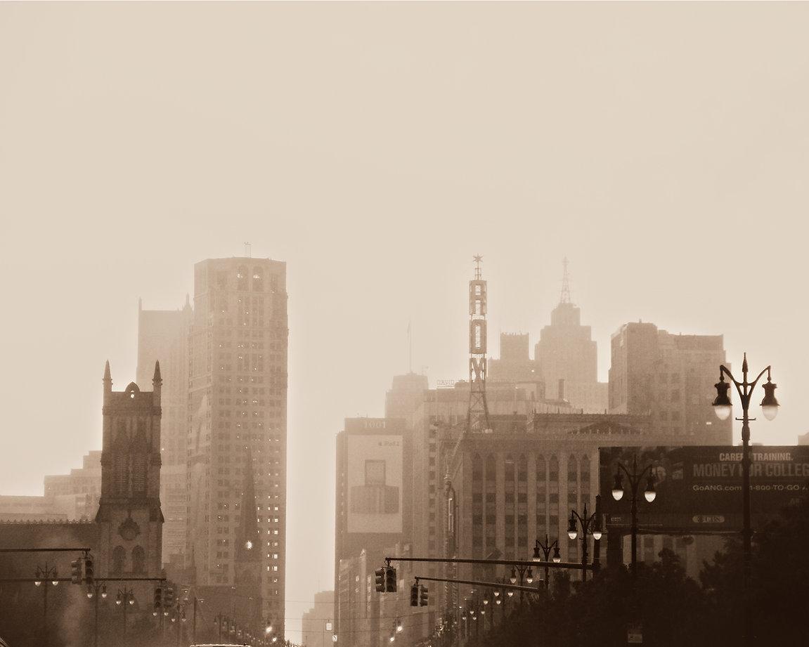 Detroit foggy downtown michigan city urb