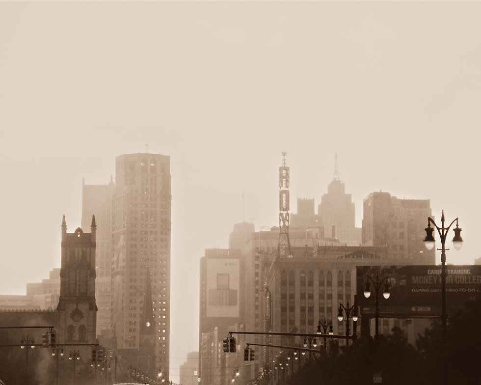 Detroit foggy downtown michigan city urb