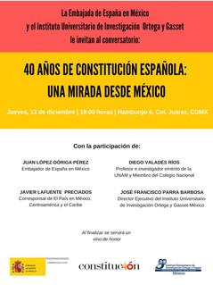 Invitación: 40 años de Constitución Española, una mirada desde México