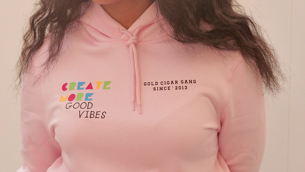 """Create More Good Vibes"" Hoodie (Light Pink)"