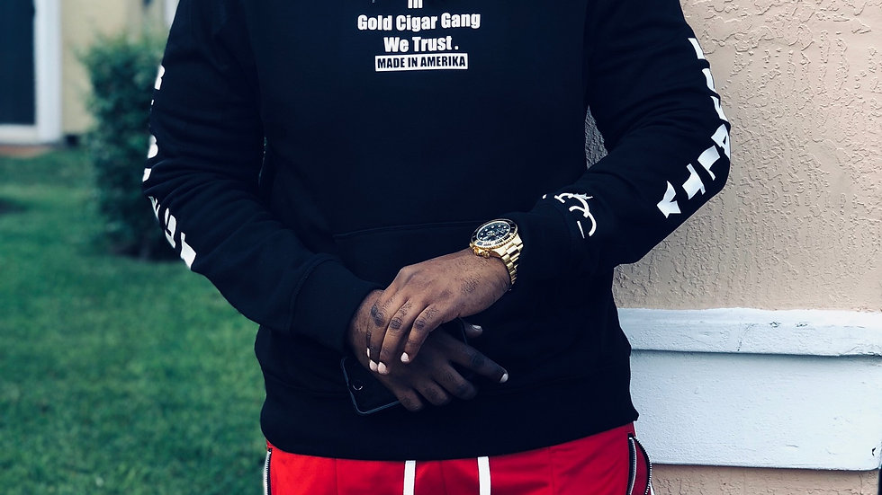In Gold Cigar Gang We Trust Hoodie (Black)