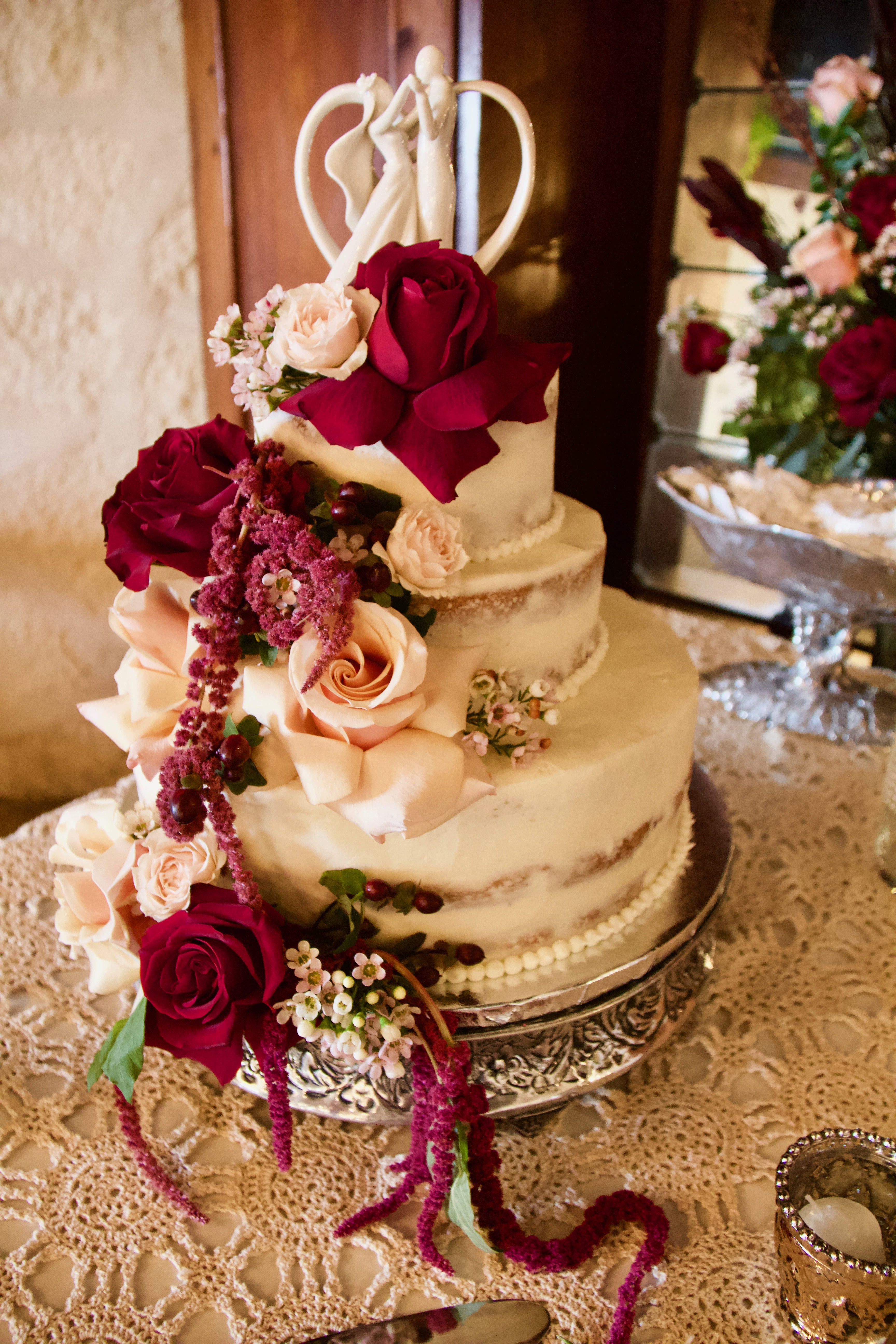Antique Naked Wedding Cake