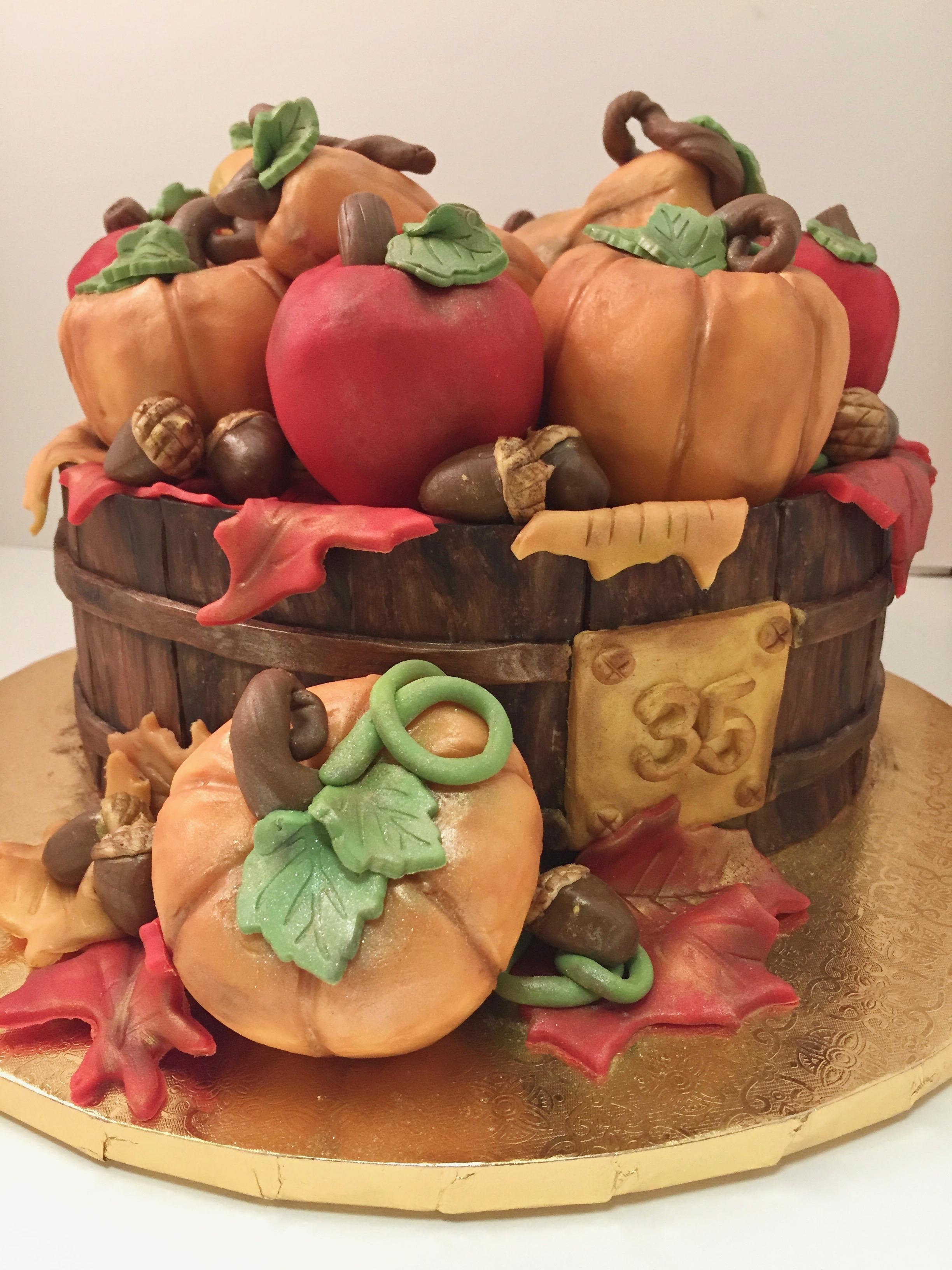 Fall-Themed Birthday Cake