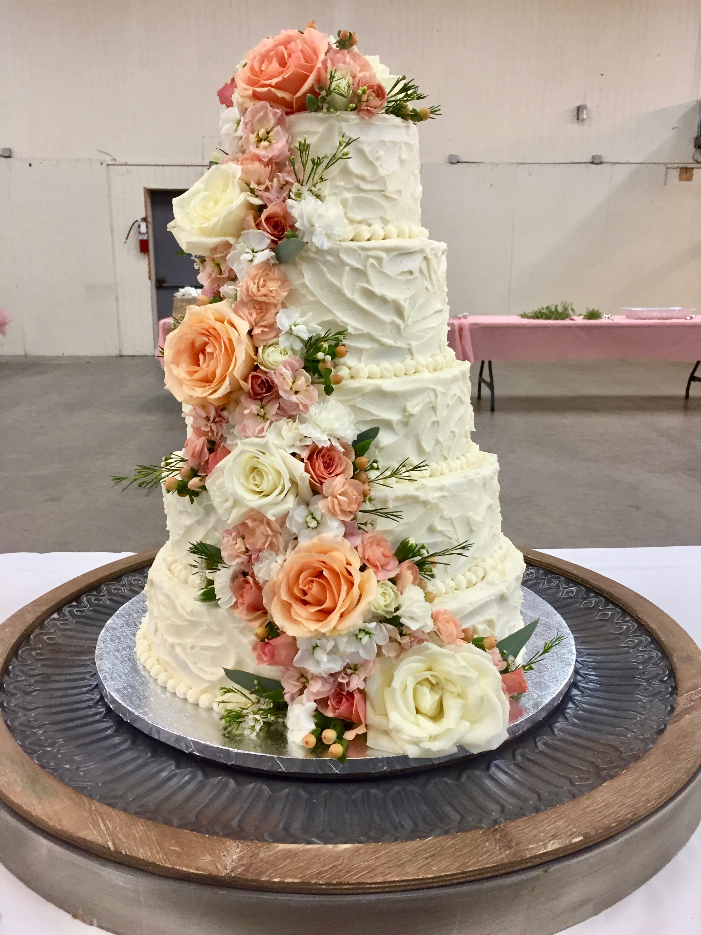 Five Tiered Fresh Flower Wedding Cake