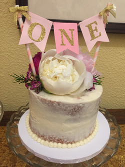 Fresh Flower Naked Birthday Cake