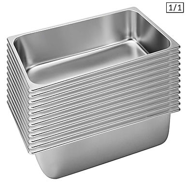 SOGA 12X Gastronorm GN Pan Full Size 1/1 GN Pan 20cm Deep Stainless Steel Tray