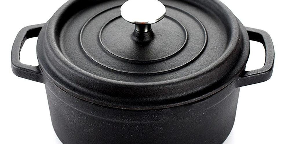 SOGA 24cm Cast Iron Enamel Porcelain Stewpot with lid 3.6L, Black