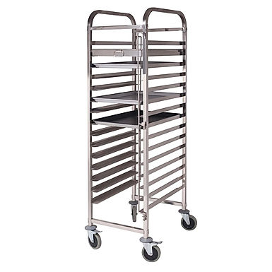 SOGA Gastronorm Trolley 15 Tier Stainless Steel Cake Bakery Trolley 60*40cm