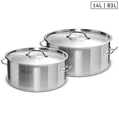 SOGA Stock Pot 14L 83L Top Grade Thick Stainless Steel Stockpot 18/10