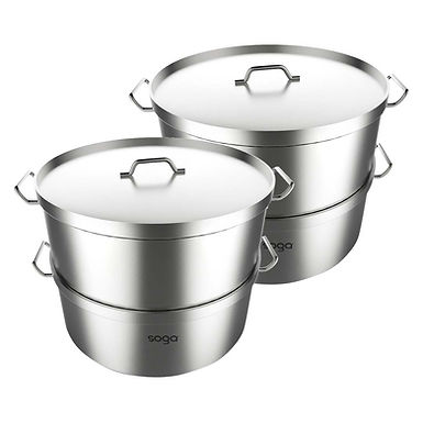 SOGA 2X Commercial 304 Stainless Steel Steamer With 2 Tiers Top Food Grade 28*18