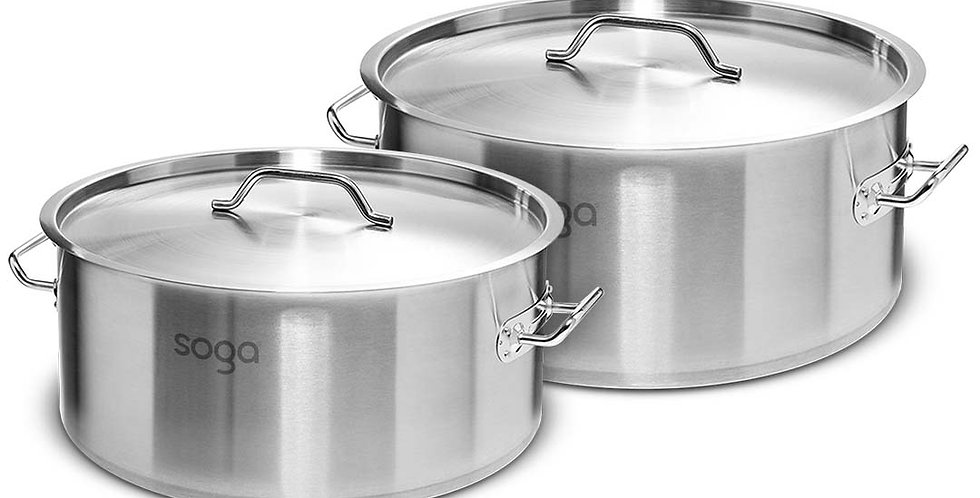 SOGA Stock Pot 9L 23L Top Grade Thick Stainless Steel Stockpot 18/10