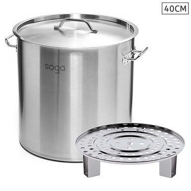 SOGA 40cm Stainless Steel Stock Pot with One Steamer Rack Insert Stockpo