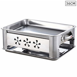 36CM Portable Stainless Steel Outdoor Chafing Dish BBQ Fish Stove Grill Plate