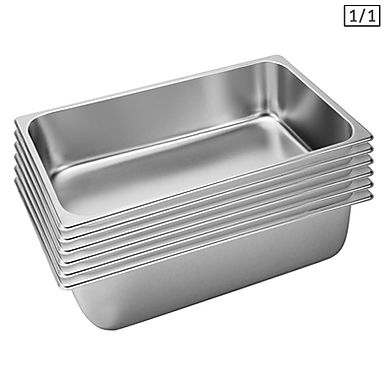 SOGA 6X Gastronorm GN Pan Full Size 1/1 GN Pan 15cm Deep Stainless Steel Tray