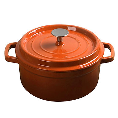SOGA 24cm Cast Iron Enamel Porcelain Stewpot with lid, 3.6L, Orange