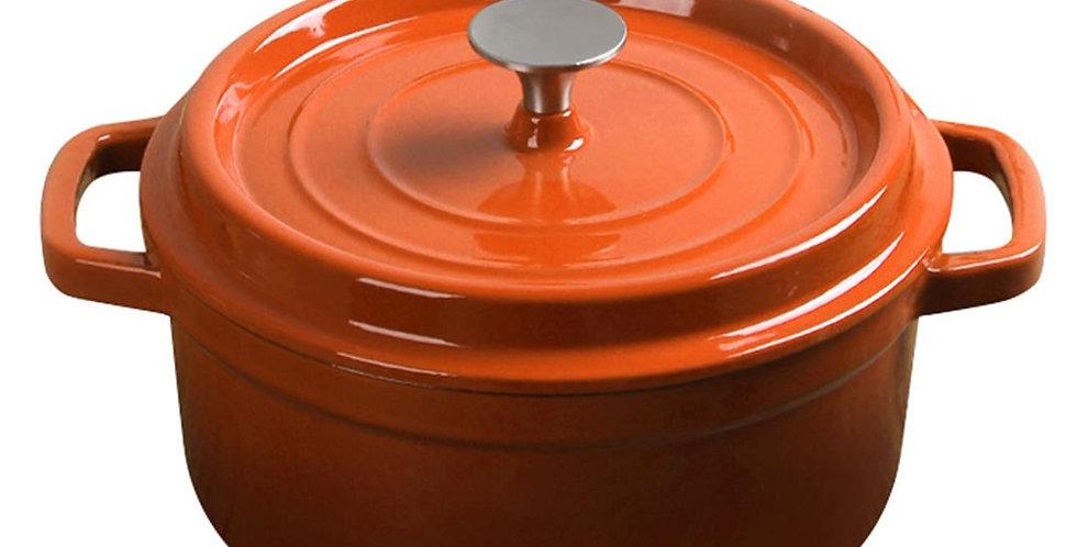 SOGA 24cm Cast Iron Enamel Porcelain Stewpot with lid, 3.6L, Orange