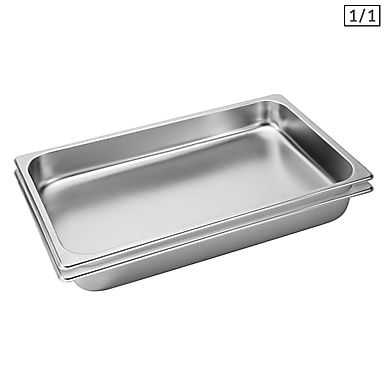 SOGA 2X Gastronorm GN Pan Full Size 1/1 GN Pan 6.5cm Deep Stainless Steel Tray