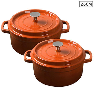 SOGA Orange 2 X 26cm Cast Iron Enamel Porcelain Stewpot Casserole with lid