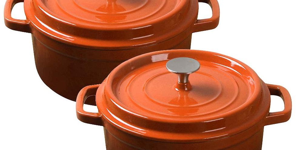 SOGA Orange 2 X 26cm Cast Iron Enamel Porcelain Stewpot Casserole with lid