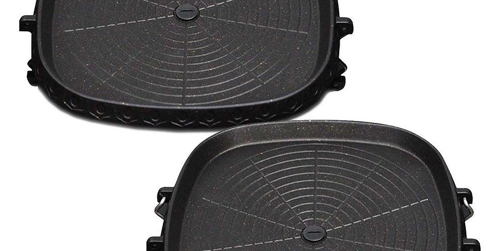 SOGA 2x Portable Korean BBQ Butane Gas Stove Stone Grill Plate Non Stick Coated