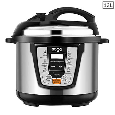SOGA Electric Stainless Steel Pressure Cooker 12L 1600W Multicooker 16
