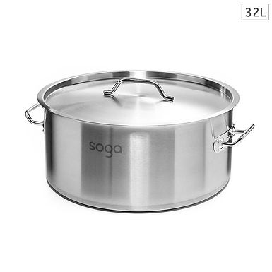 SOGA Stock Pot 32L (low) Top Grade Thick Stainless Steel Stockpot 18/10