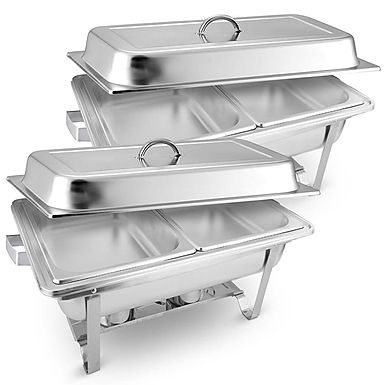 SOGA 2X 4.5L Dual Tray Stainless Steel Chafing Food Warmer Catering Dish