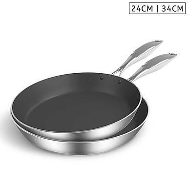 SOGA Stainless Steel Fry Pan 24cm 34cm Frying Pan Induction Non Stick In
