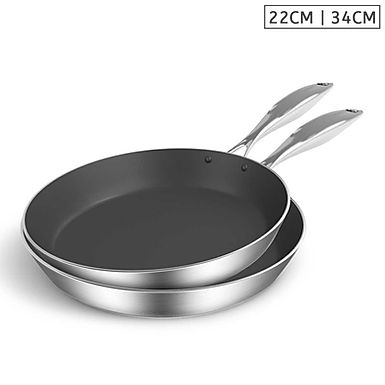 SOGA Stainless Steel Fry Pan 22cm 34cm Frying Pan Induction Non Stick In