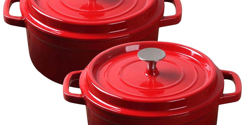 SOGA Red 2 X 26cm Cast Iron Enamel Porcelain Stewpot Casserole with lid