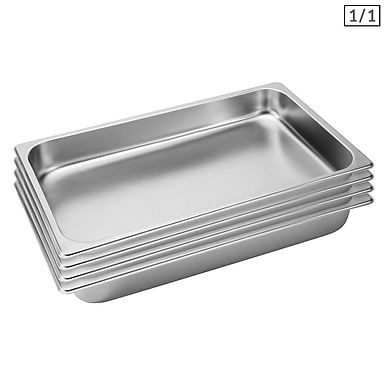 SOGA 4X Gastronorm GN Pan Full Size 1/1 GN Pan 6.5cm Deep Stainless Steel Tray