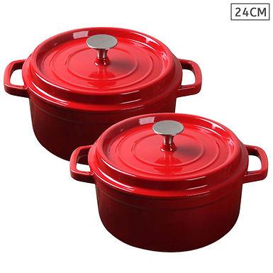 SOGA Red 2 X 24cm Cast Iron Enamel Porcelain Stewpot Casserole with lid