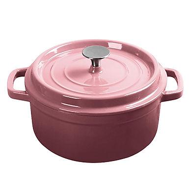 SOGA 22cm Cast Iron Enamel Porcelain Stewpot with lid, 2.7L Pink