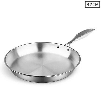 SOGA Stainless Steel Fry Pan 32cm Top Grade Induction Frying Pan Cooking