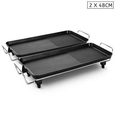 SOGA 2X 48cm Electric BBQ Grill Teppanyaki Tough Non-Stick Surface Hot Plate