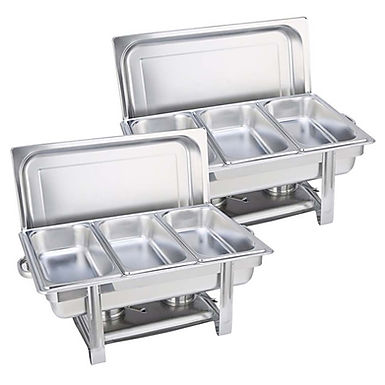 SOGA 2X  3L Triple Tray Stainless Steel Chafing Catering Dish Food Warmer