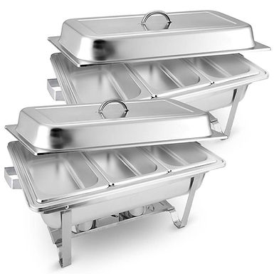 SOGA 2X 3L Triple Tray Stainless Steel Chafing Food Warmer Catering Dish