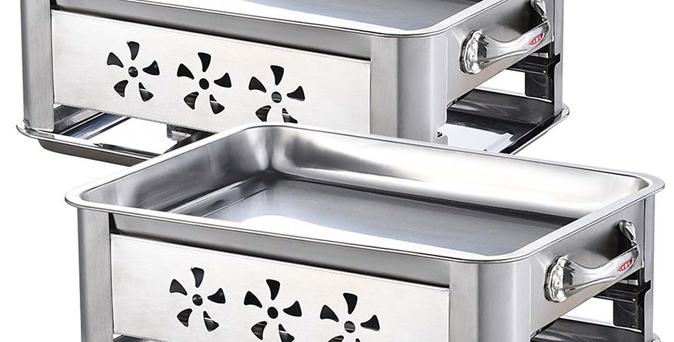 2X 36CM Portable Stainless Steel Outdoor Chafing Dish BBQ Fish Stove Grill Plate
