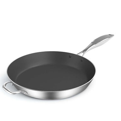 SOGA 34cm Stainless Steel Fry Pan Frying Pan Induction FryPan Non Stick