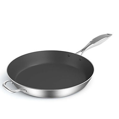 SOGA 36cm Stainless Steel Fry Pan Frying Pan Induction FryPan Non Stick