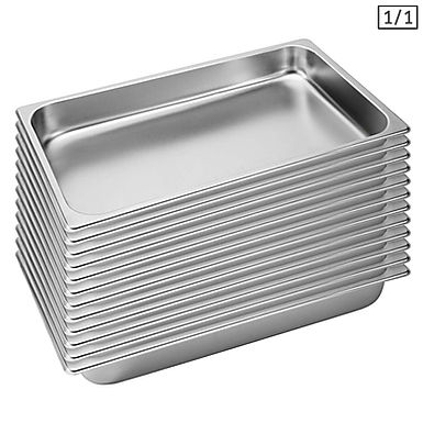 SOGA 12X  Gastronorm GN Pan Full Size 1/1 GN Pan 6.5cm Deep Stainless Steel Tray