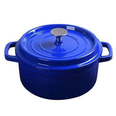 SOGA 24cm Cast Iron Enamel Porcelain Stewpot with lid, 3.6L, Blue