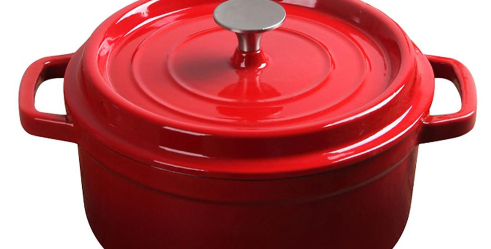 SOGA 22cm Cast Iron Enamel Porcelain Stewpot with lid, 2.7L Red