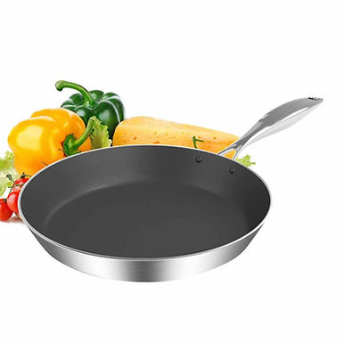 SOGA 26cm Stainless Steel Fry Pan Frying Pan Induction FryPan Non Stick