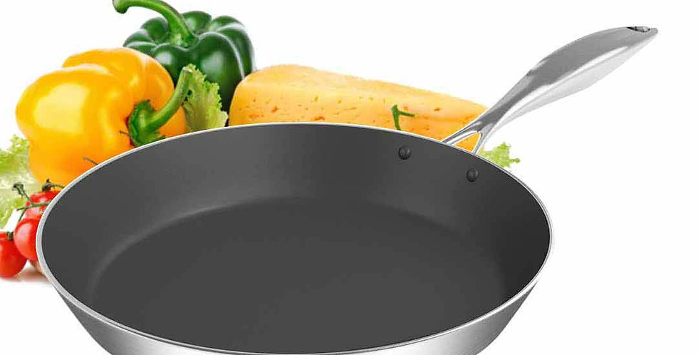 SOGA 30cm Stainless Steel Fry Pan Frying Pan Induction FryPan Non Stick