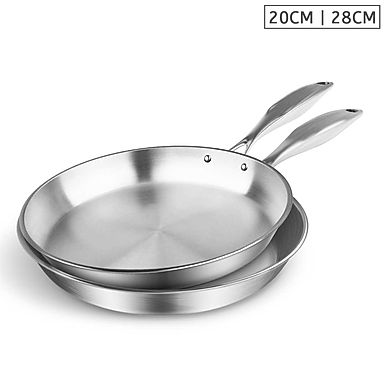 SOGA Stainless Steel Fry Pan 20cm 28cm Top Grade Induction Cooking