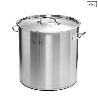 SOGA Stock Pot 25L Top Grade Thick Stainless Steel Stockpot 18/10