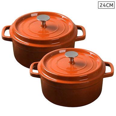 SOGA Orange 2 X 24cm Cast Iron Enamel Porcelain Stewpot Casserole with lid