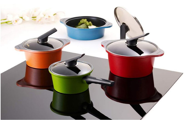 Happycall Alumite Ceramic Pots and Saucepans are oven safe and dishwasher safe cookwares. Apart from able to use this in oven, this cookware can also suits stove gas, electric, halogen, and induction cooking. It comes with four different colours and sizes designed to suit your modern kitchen. Its has a non-stick coating making it very easy to clean and maintain. Perfect for gifts on weddings, birthdays, mother's day gift or house-warming gift. And, of course this is a cookware set that you will definitely love to have in your kitchen and on tables.