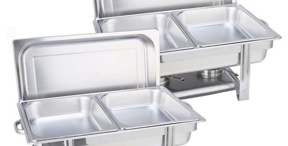 SOGA 2X 4.5L Double Tray Stainless Steel Chafing Catering Dish Food Warmer